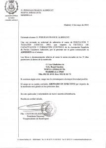 Pierjean Albrecht, admission letter, Expert Witness course