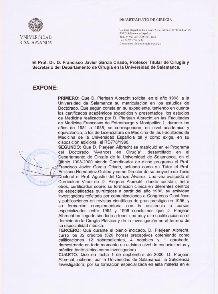 Certificado Universidad de Salamanca - Pierjean (pierre) Albrecht